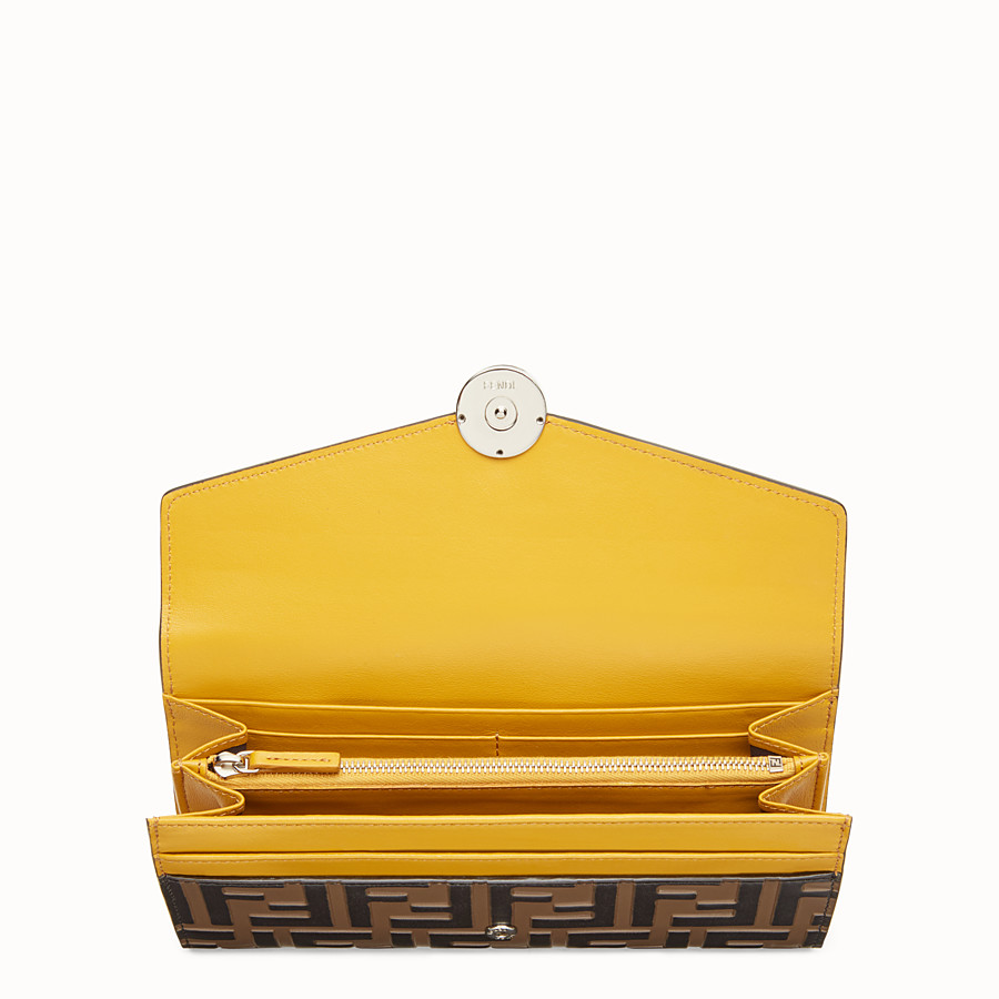 FENDI CONTINENTAL - Yellow leather wallet - view 4 detail