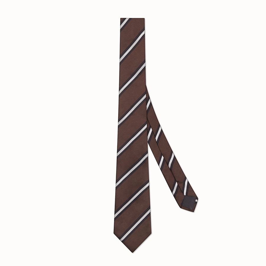 FENDI TIE - Brown silk tie - view 1 detail