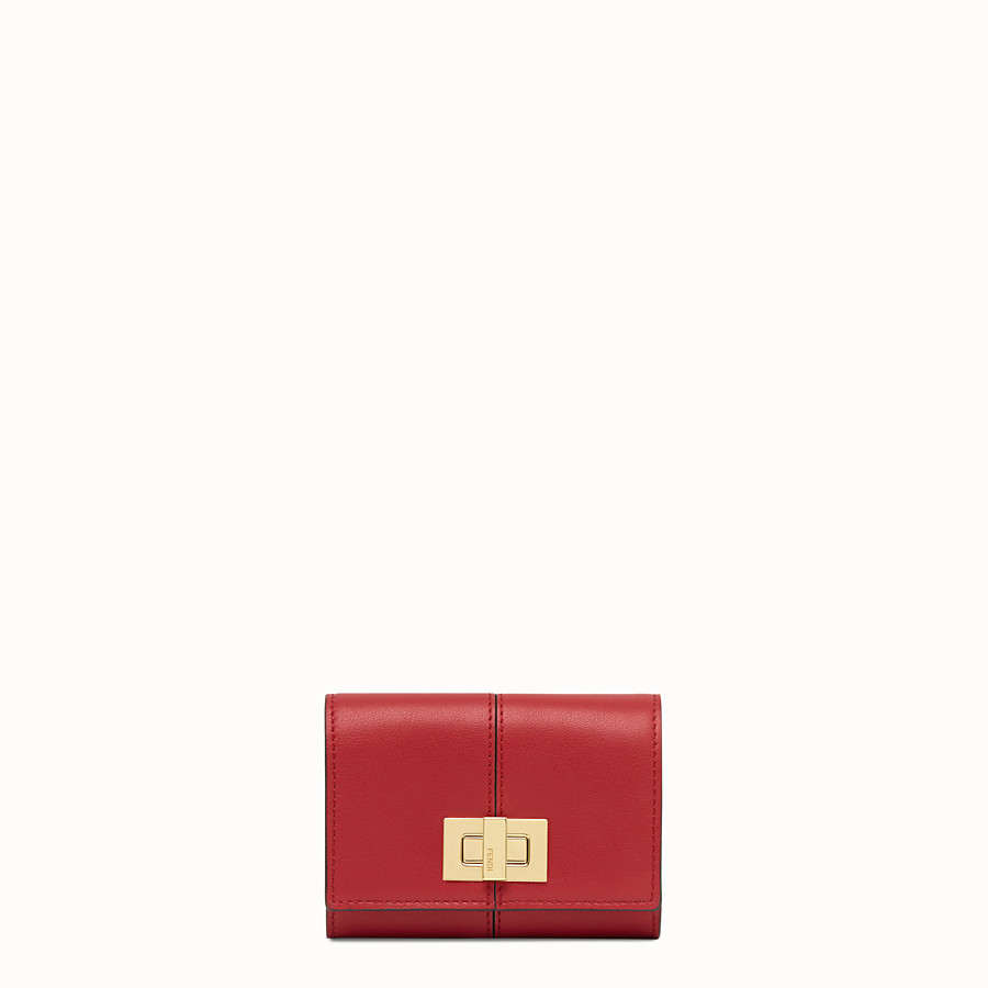 FENDI CARD HOLDER - Red leather card holder - view 1 detail