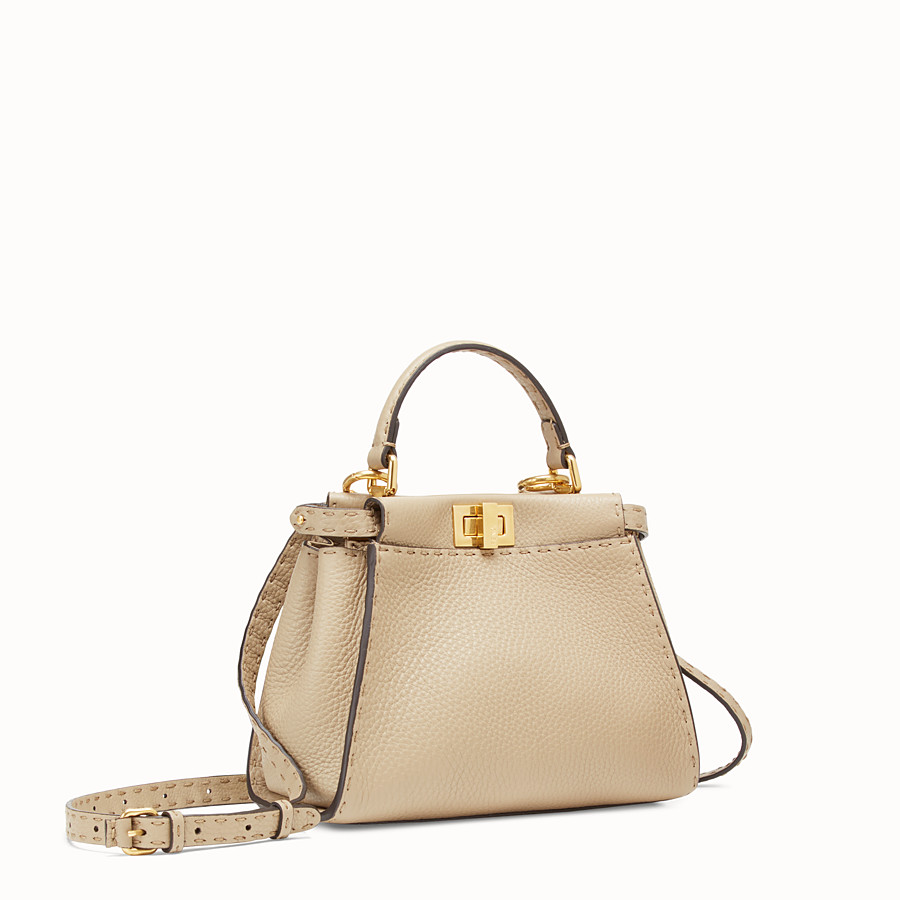 FENDI PEEKABOO ICONIC MINI - Beige leather bag - view 2 detail