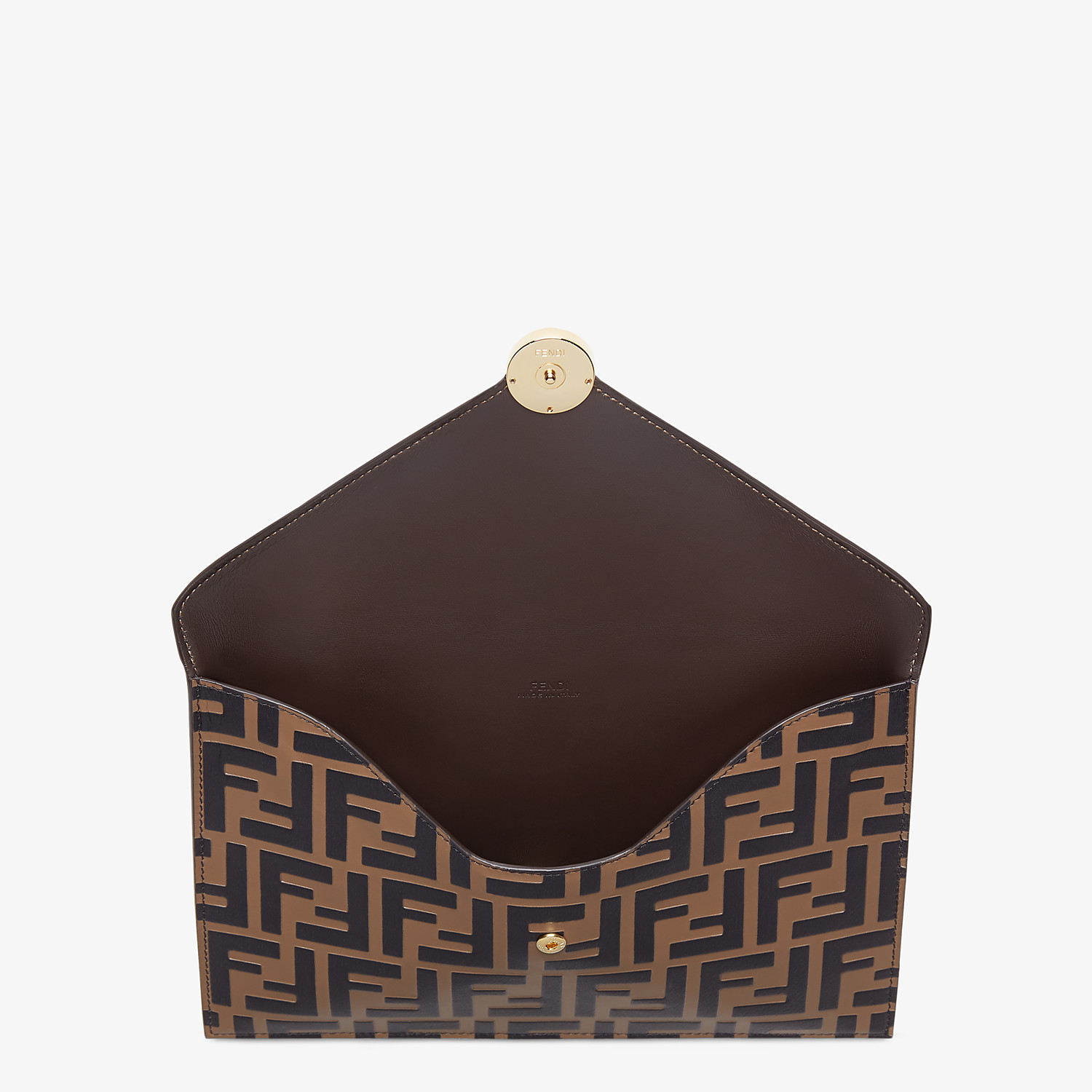 FENDI FLAT POUCH - Brown leather pouch - view 3 detail