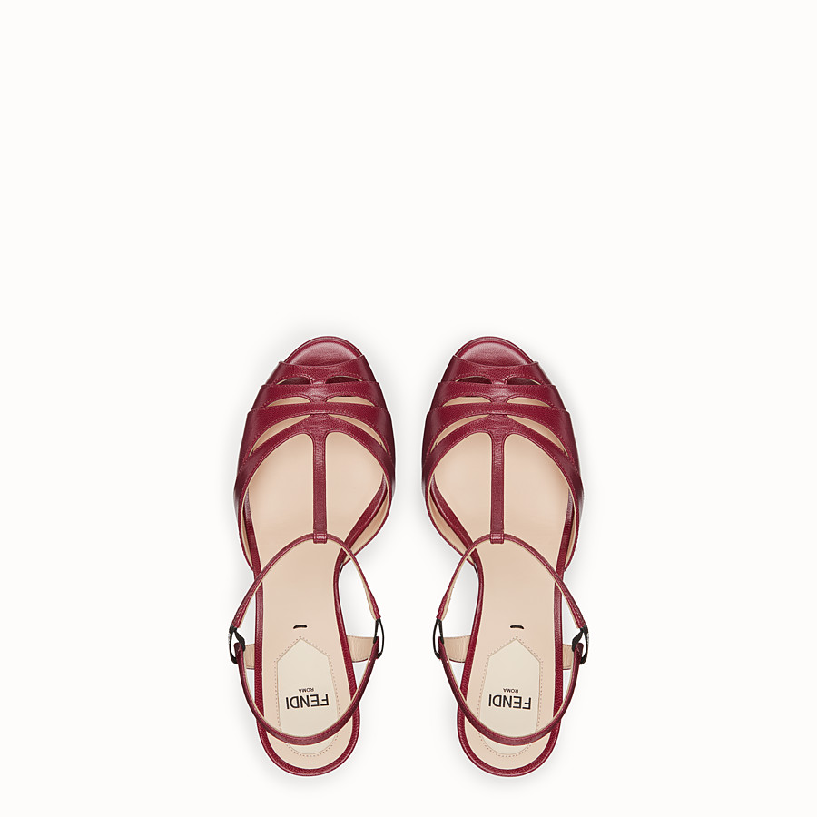 FENDI SANDALS - Red leather sandals - view 4 detail
