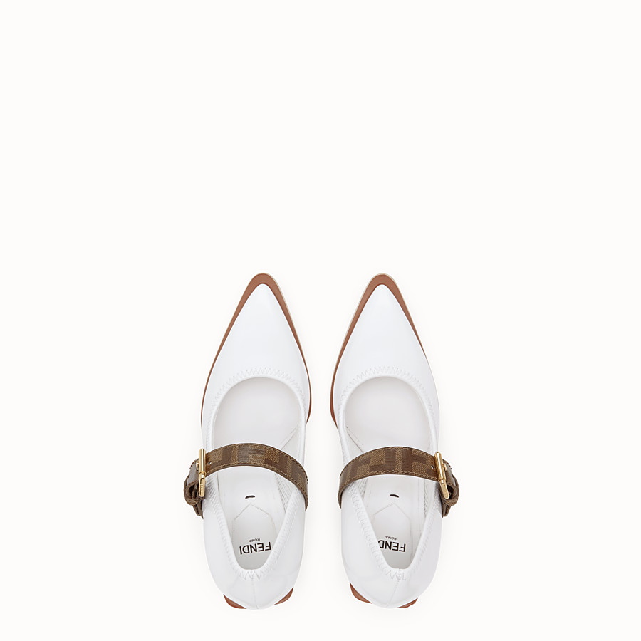 FENDI COURT SHOES - Mary Jane in glossy white neoprene - view 4 detail
