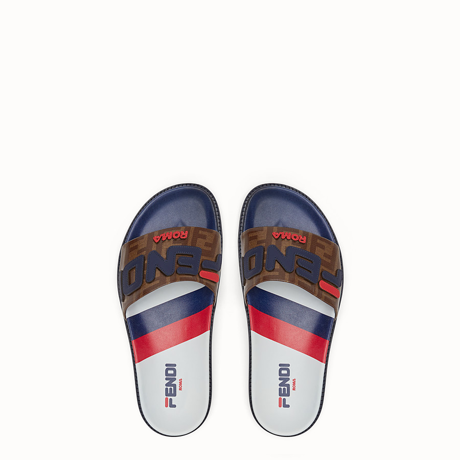 FENDI SLIDES - Multicoloured rubber Fussbet sandals - view 4 detail