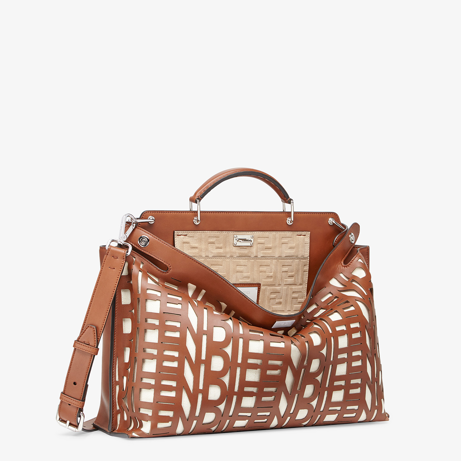 FENDI PEEKABOO ICONIC ESSENTIAL -  Brown leather bag - view 2 detail