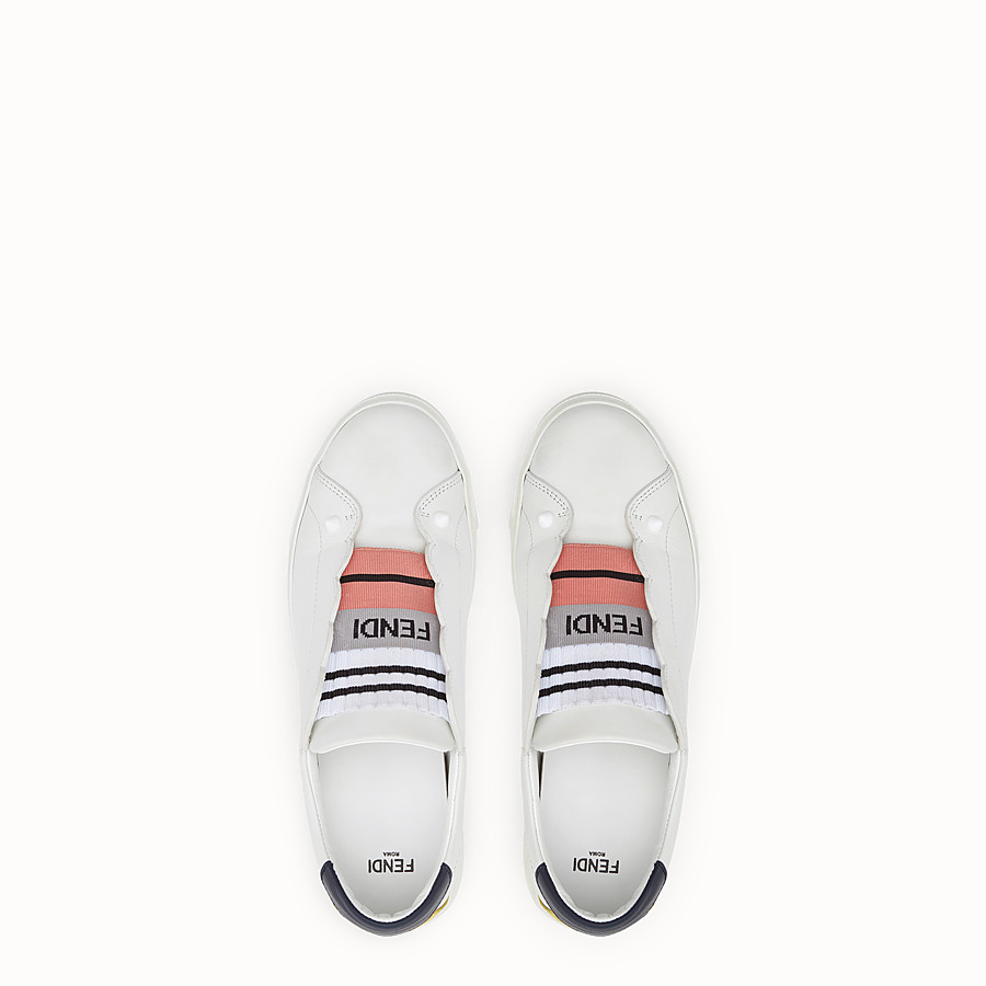 FENDI SNEAKER - White leather slip-ons - view 4 detail
