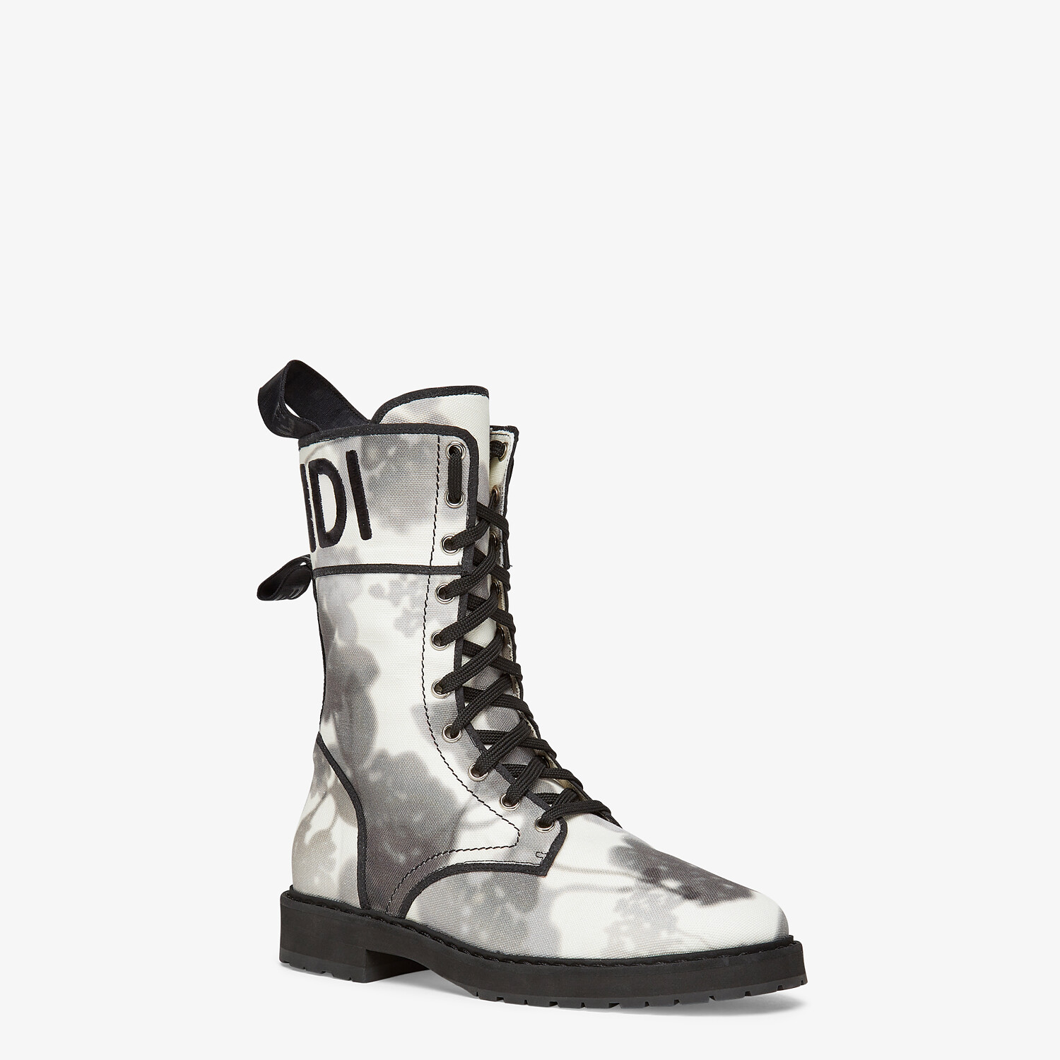 FENDI SIGNATURE BIKER BOOTS - Gray canvas boots - view 2 detail
