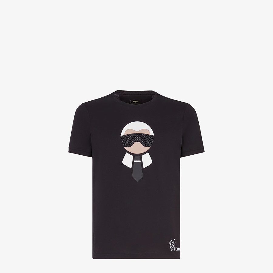 FENDI T-SHIRT - Black cotton jersey and leather t-shirt - view 1 detail