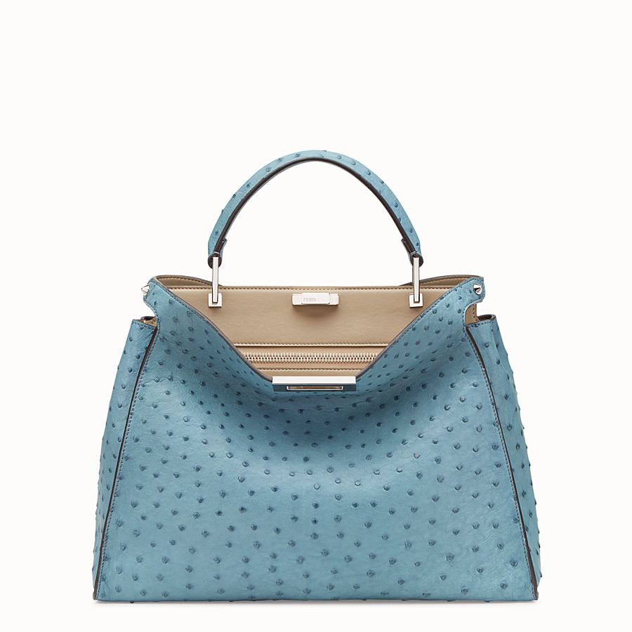 FENDI PEEKABOO ESSENTIAL - Light blue ostrich leather bag - view 1 detail