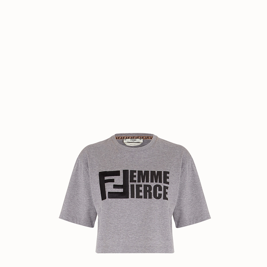 FENDI T-SHIRT - Grey cotton T-shirt - view 1 detail