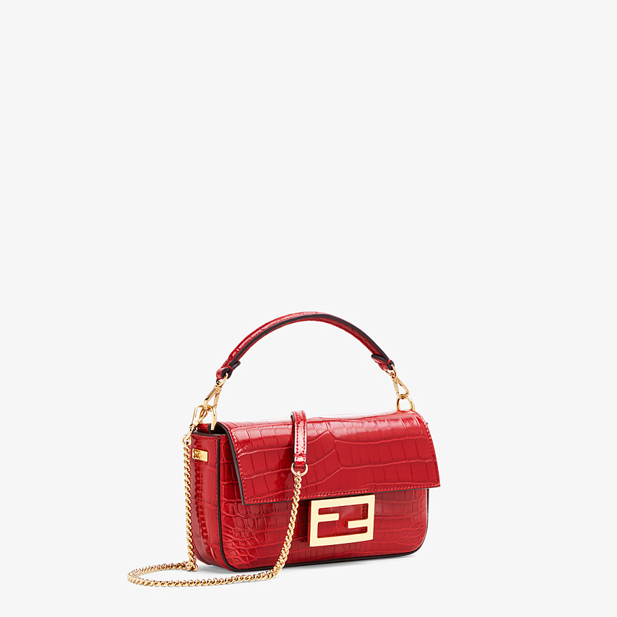 FENDI BAGUETTE - Red crocodile leather bag - view 2 detail