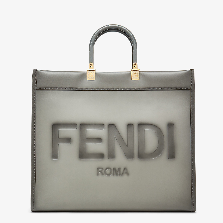 FENDI FENDI SUNSHINE LARGE - gray leather shopper - view 1 detail