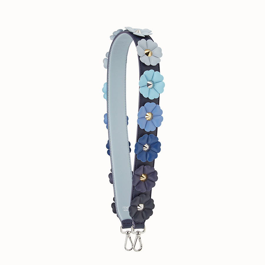 FENDI STRAP YOU - Shoulder strap in blue leather with flowers - view 1 detail