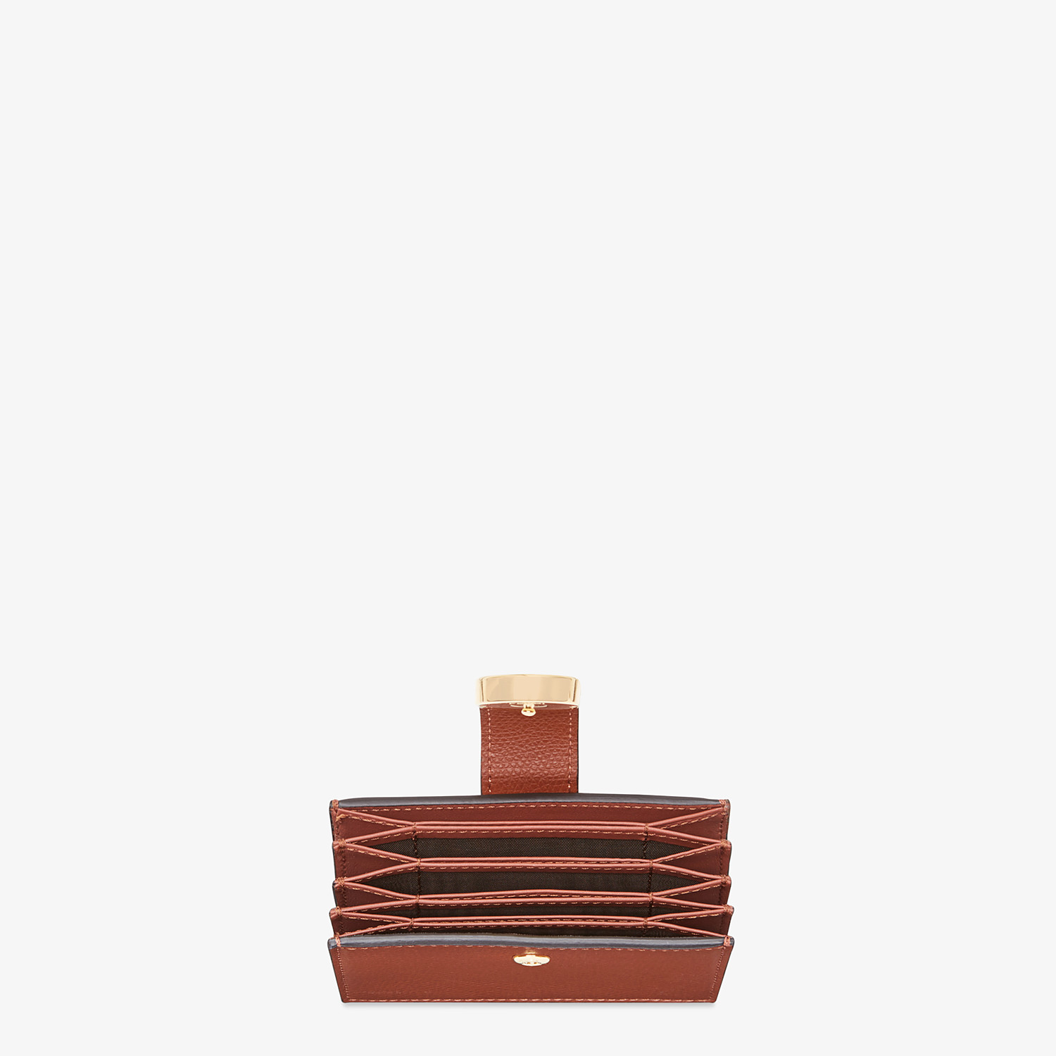 FENDI CARD HOLDER - Brown leather gusseted card holder - view 3 detail