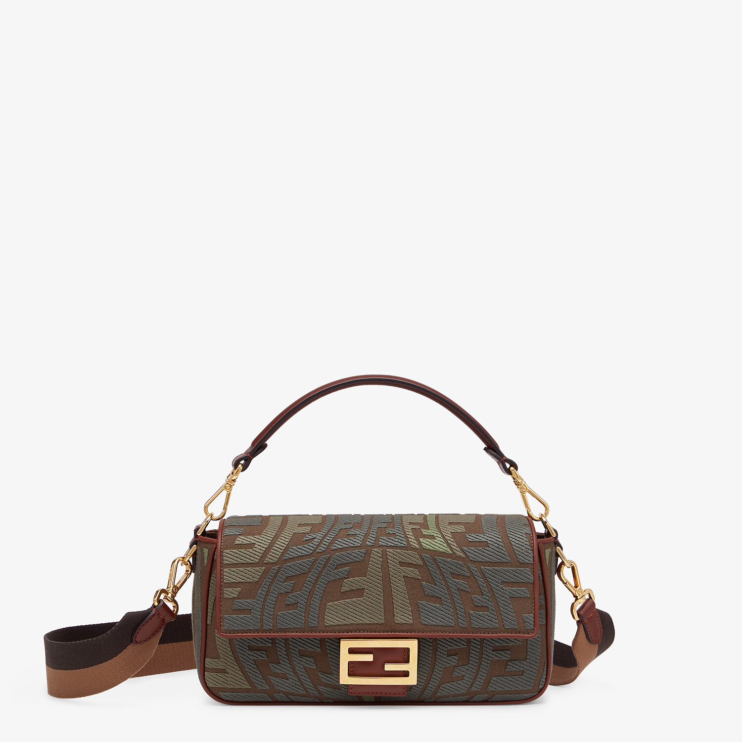 FENDI BAGUETTE - Embroidered green canvas bag - view 1 detail