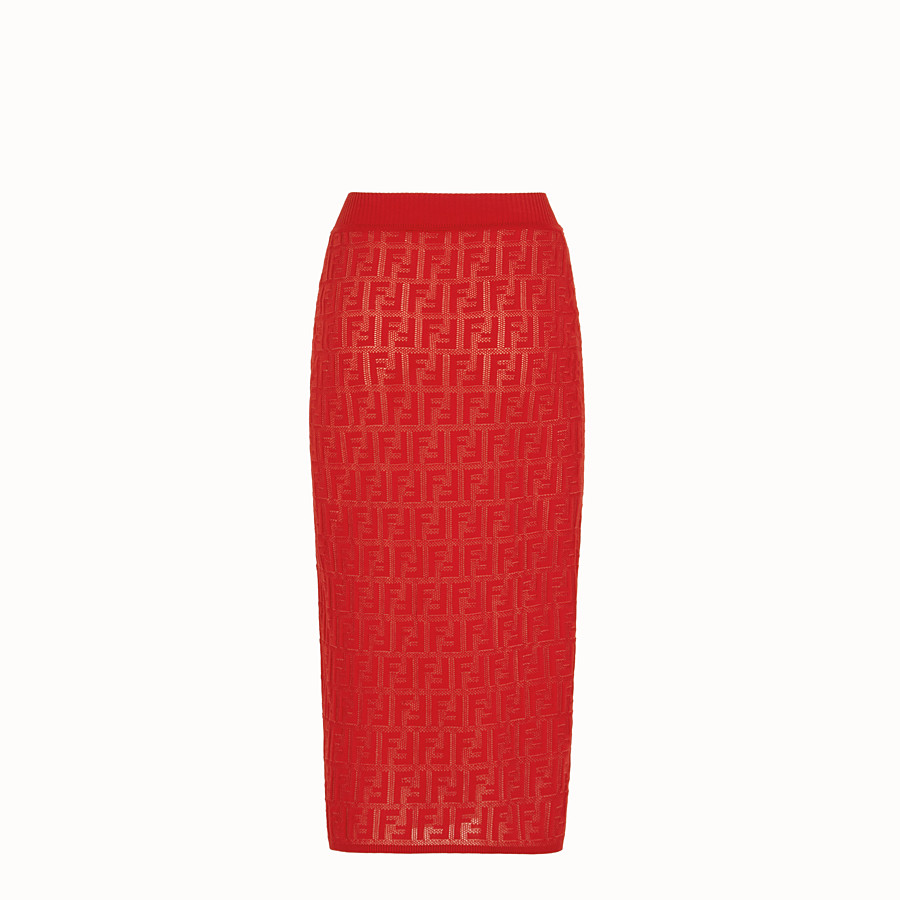 FENDI SKIRT - Red cotton skirt - view 2 detail