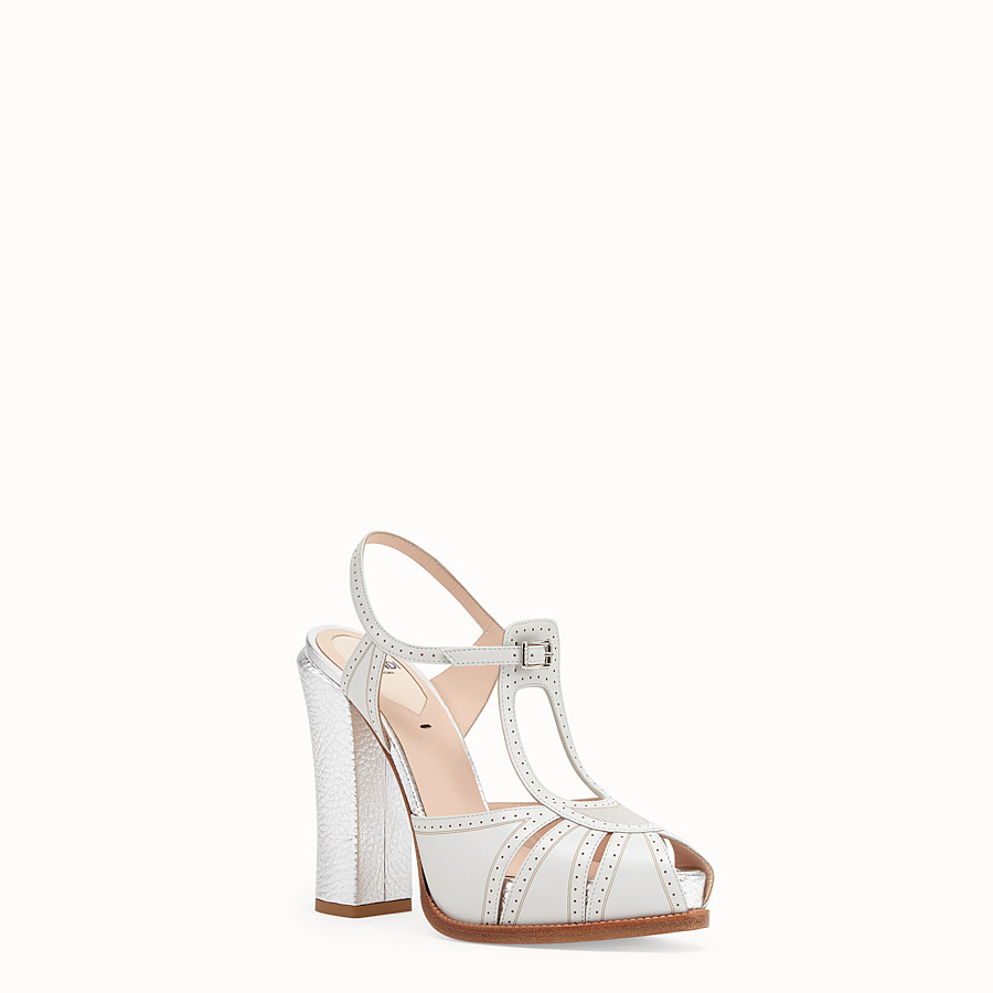 FENDI SANDALS - Gray leather sandals - view 2 detail
