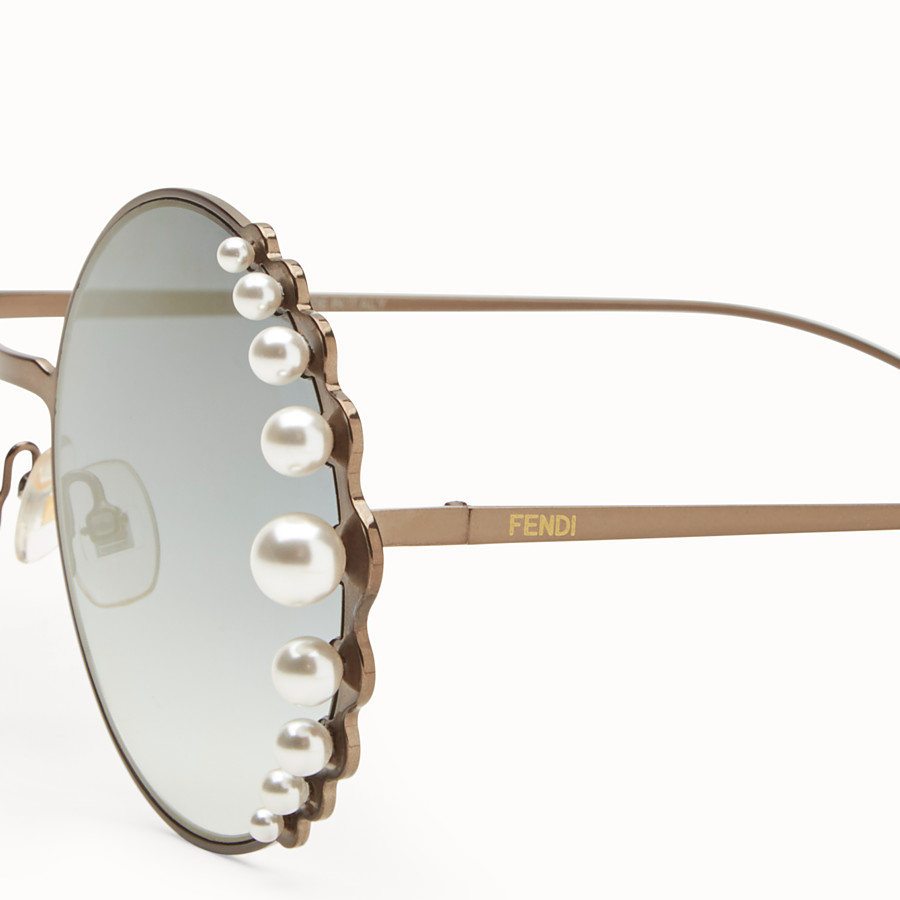 FENDI RIBBONS AND PEARLS - Bronze-colour sunglasses - view 3 detail