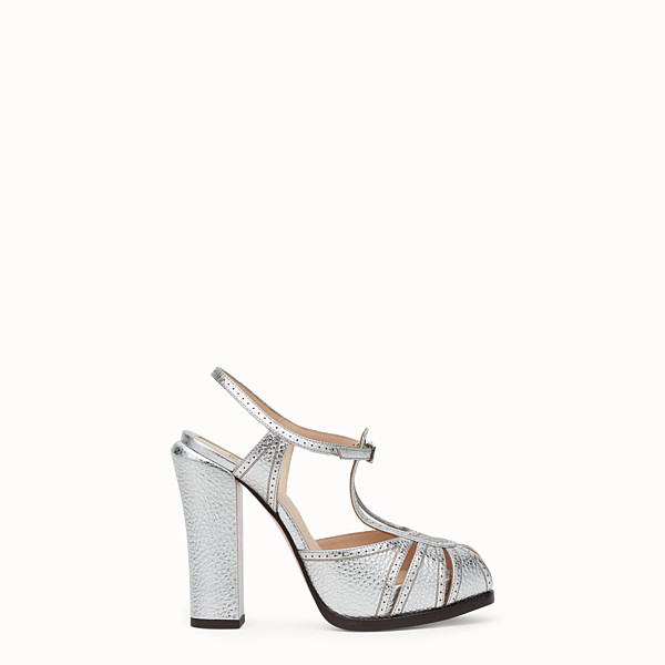 FENDI SANDALS - Silver laminated leather sandals - view 1 small thumbnail