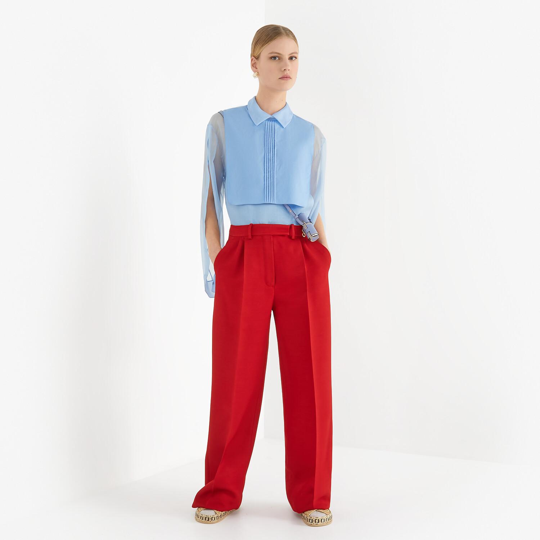 FENDI PANTS - Red silk and wool pants - view 4 detail