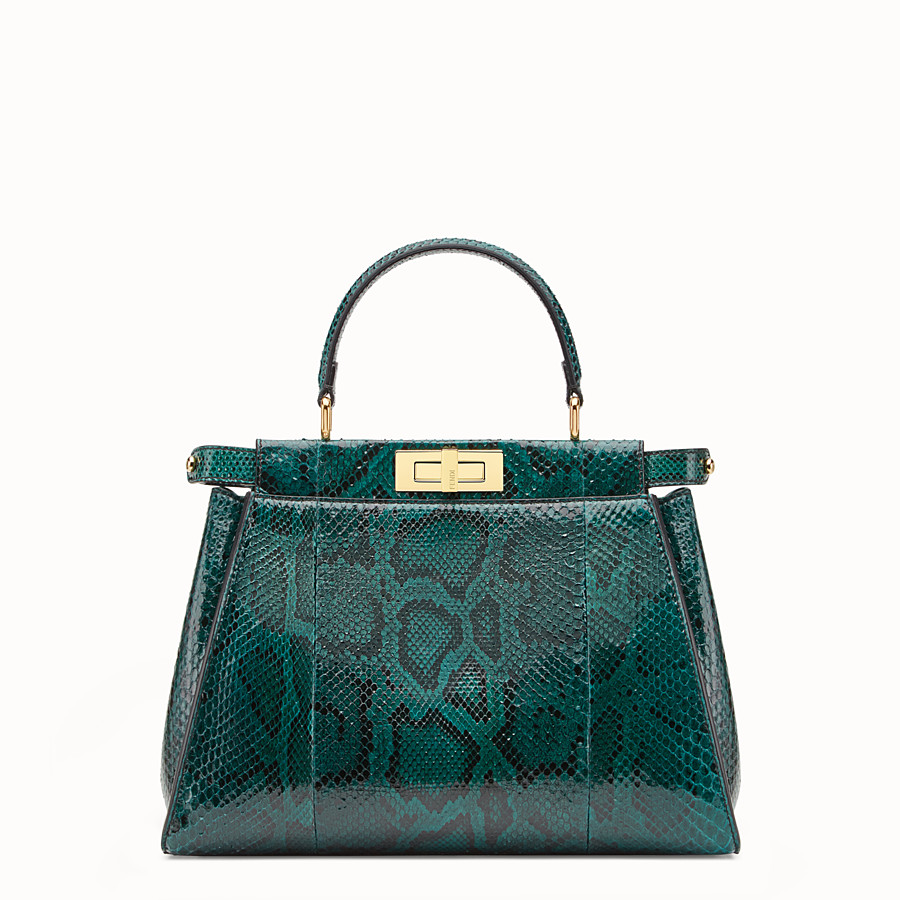 FENDI PEEKABOO REGULAR - Green python handbag. - view 1 detail