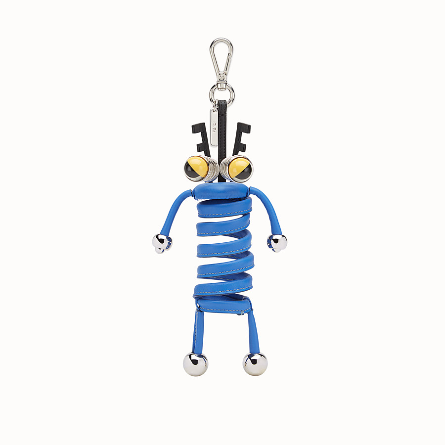 FENDI BAG CHARM - Neon blue leather keyring - view 1 detail