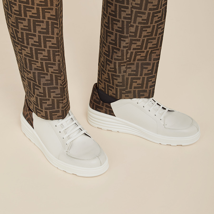 FENDI SNEAKERS - White leather low-tops - view 5 detail