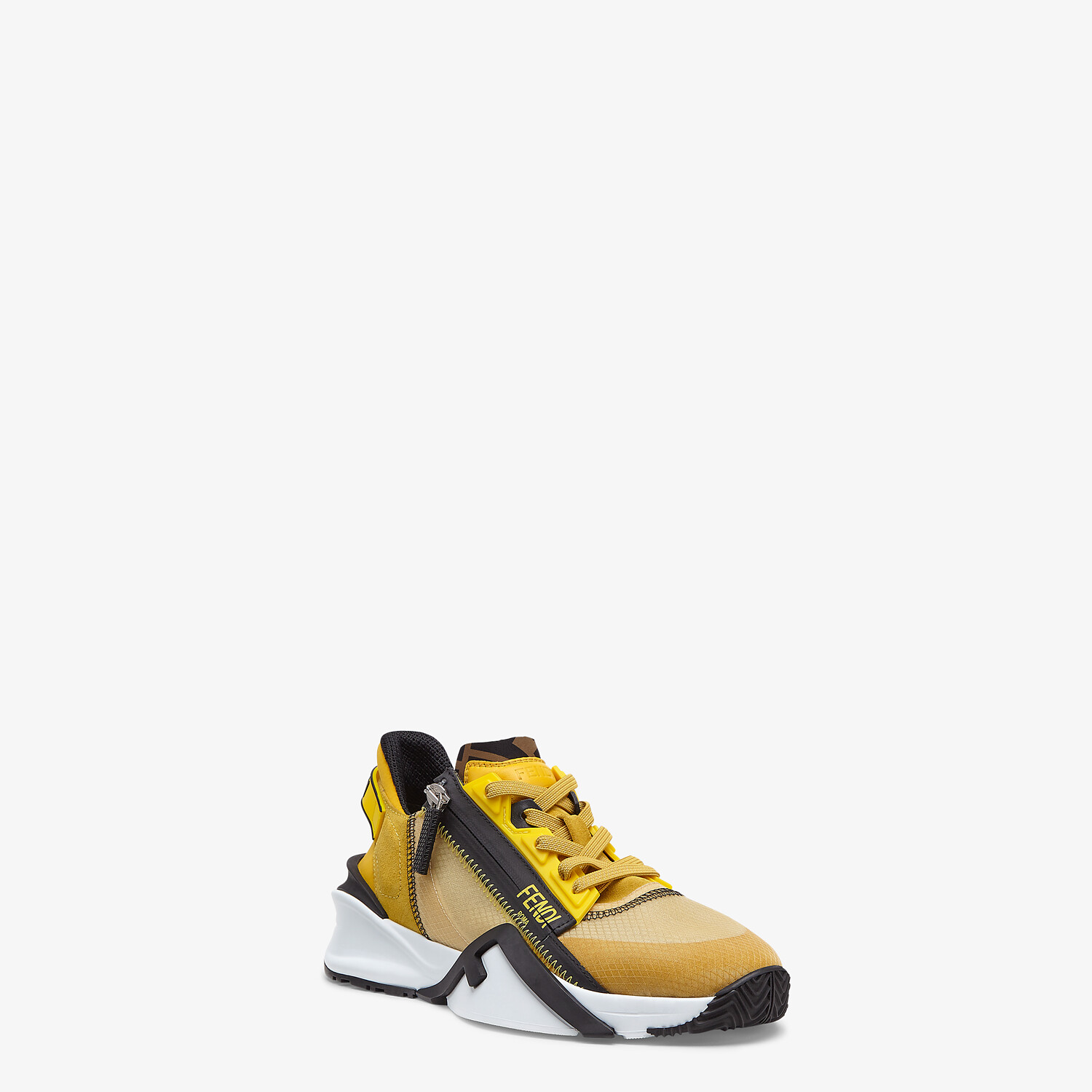 FENDI FENDI FLOW - Low-tops in yellow nylon and suede - view 2 detail