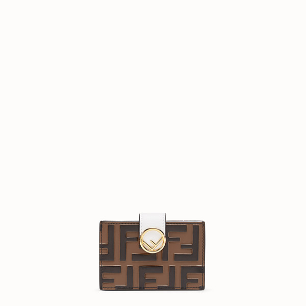 FENDI CARD HOLDER - White leather gusseted card holder - view 1 small thumbnail