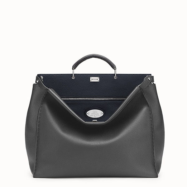 FENDI SELLERIA PEEKABOO - in grey Roman leather - view 1 small thumbnail