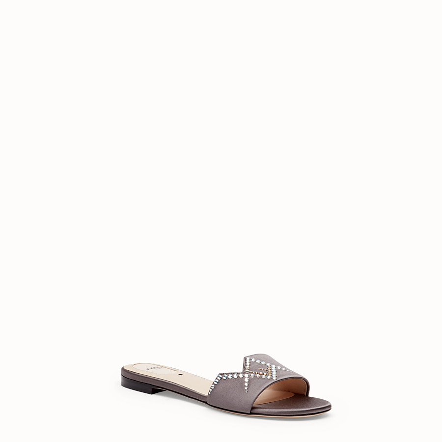 FENDI SLIDES - Grey satin slides - view 2 detail