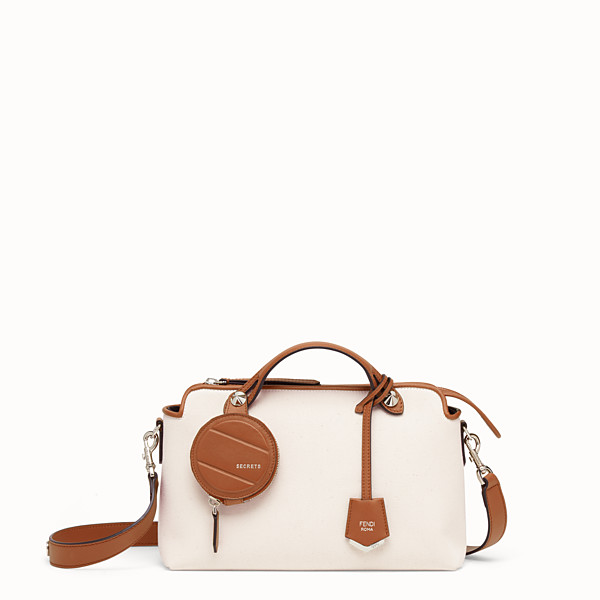 FENDI BY THE WAY MEDIUM - Bolso Boston de lona beige - view 1 small thumbnail