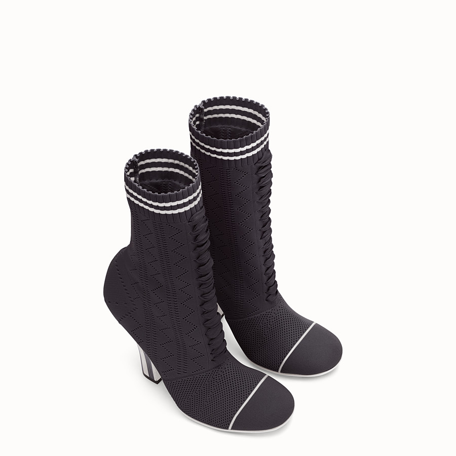 FENDI ANKLE BOOTS - Boots in black and white fabric - view 4 detail