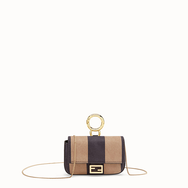 FENDI NANO BAGUETTE - Charm in brown nubuck leather - view 1 small thumbnail