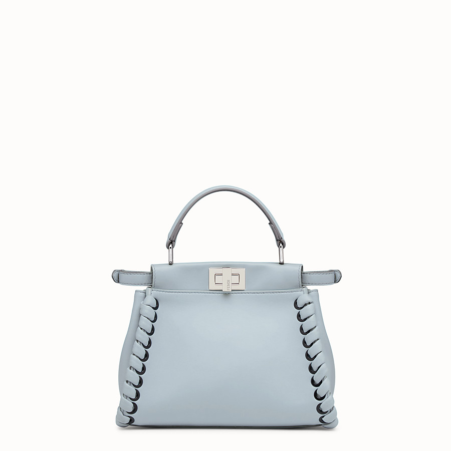 FENDI PEEKABOO MINI - Light blue nappa handbag with weaving - view 3 detail