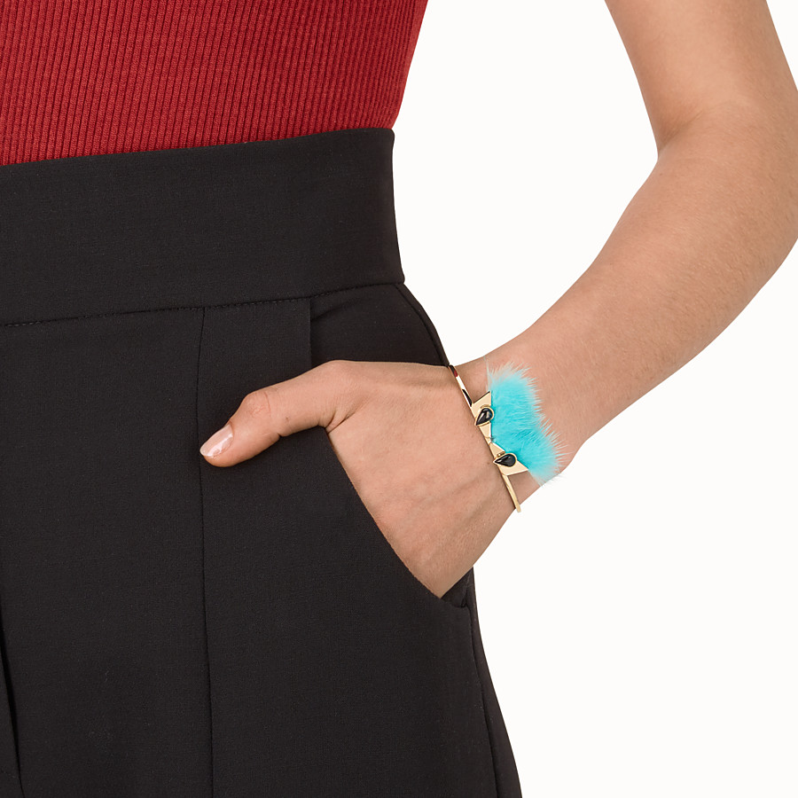 FENDI CRYSTAL WONDERS手鏈 - 裝飾萊茵石和淺藍色毛皮 - view 2 detail