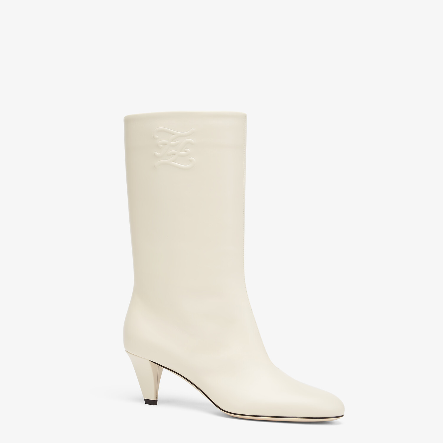 FENDI KARLIGRAPHY - White leather boots with medium heel - view 2 detail