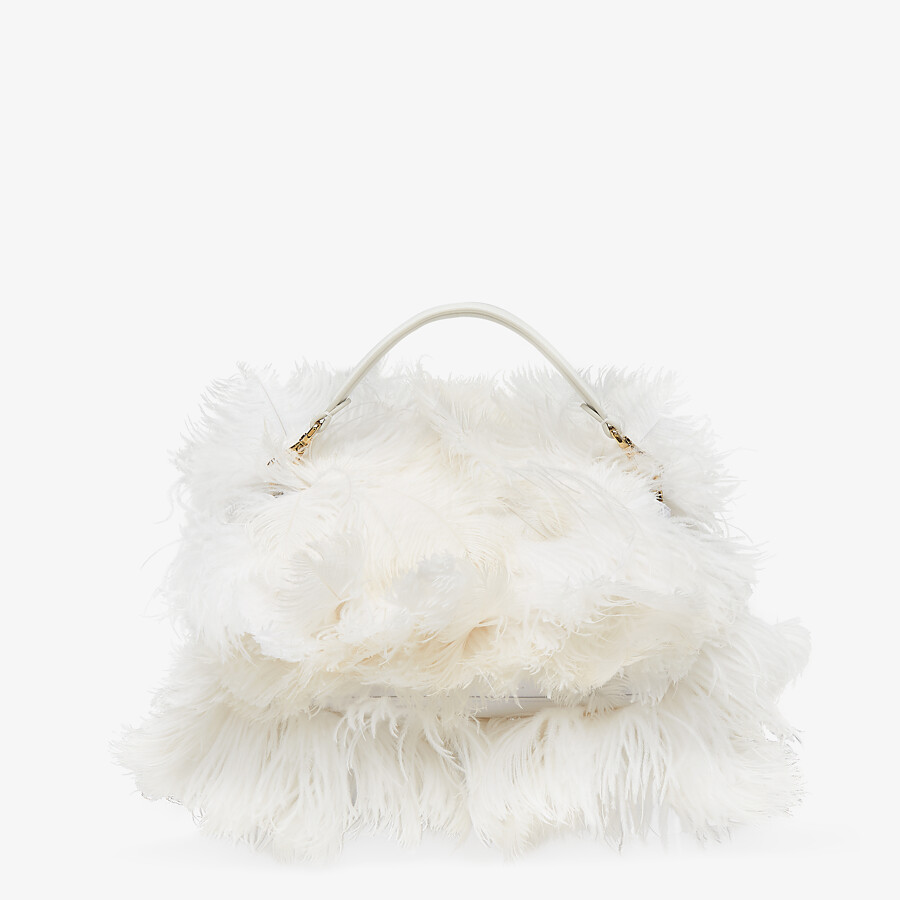 FENDI BAGUETTE - White nappa leather and feather bag - view 3 detail