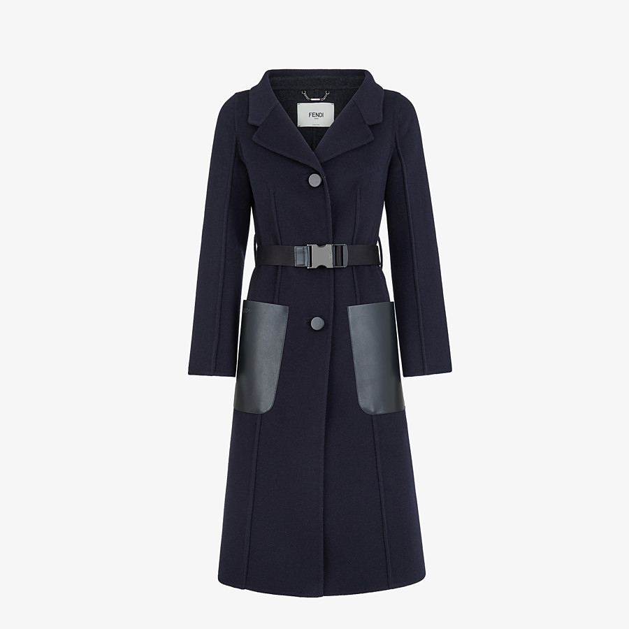 FENDI OVERCOAT - Blue cashmere overcoat - view 1 detail