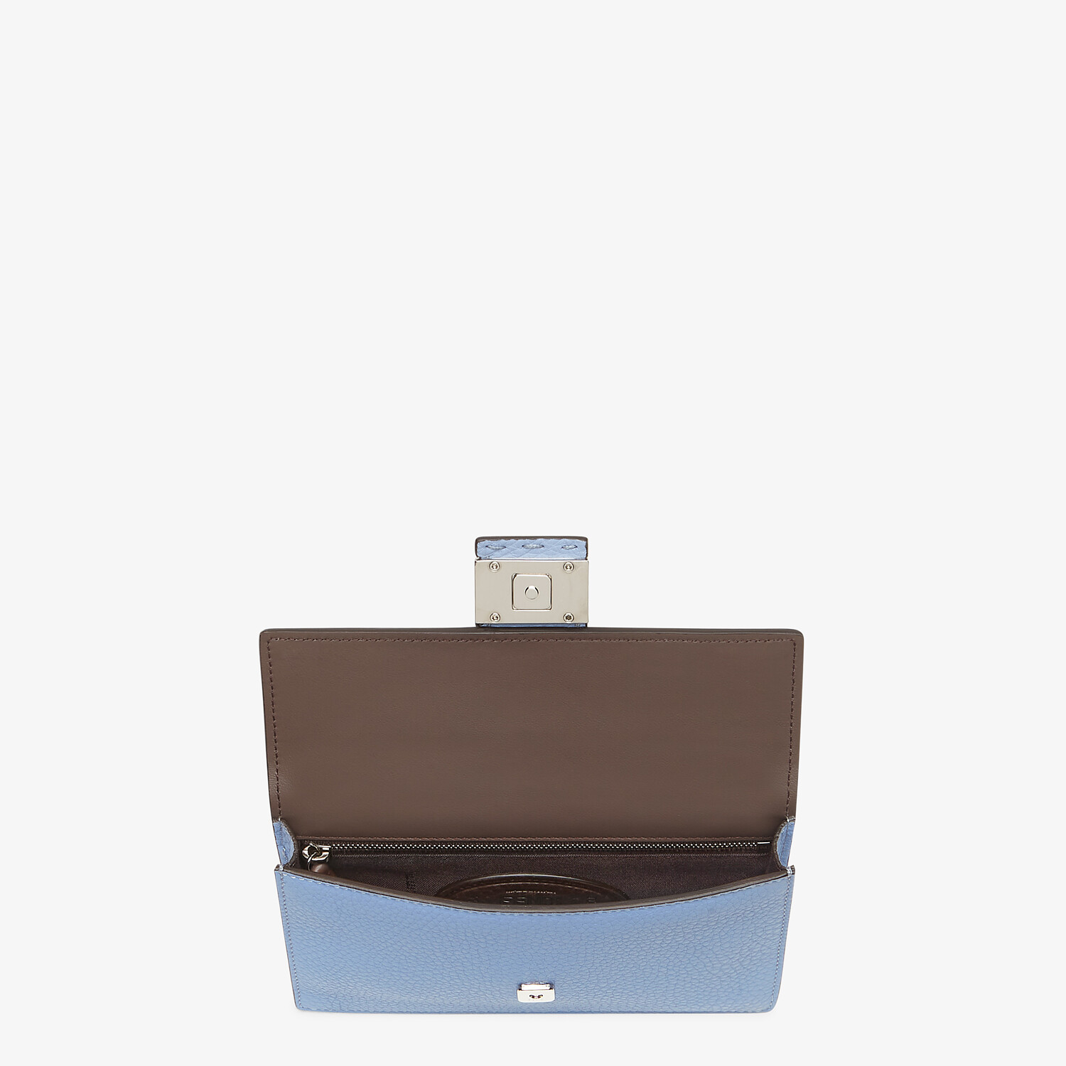 FENDI BAGUETTE POUCH - Light blue leather bag - view 4 detail