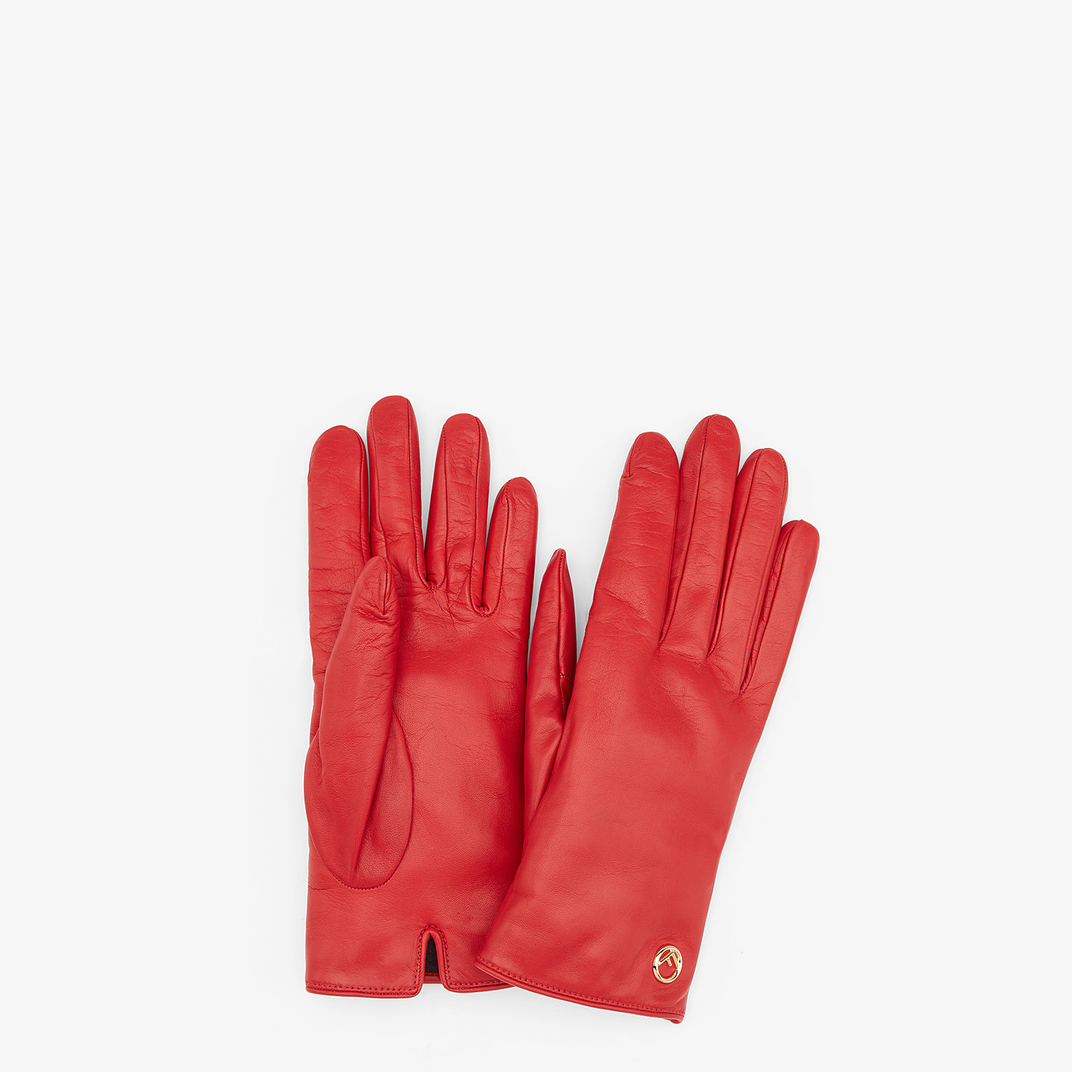 FENDI GLOVES - Red nappa leather gloves - view 1 detail