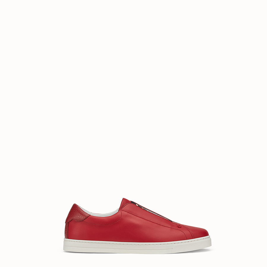 FENDI SNEAKERS - Red leather slip-ons - view 1 detail