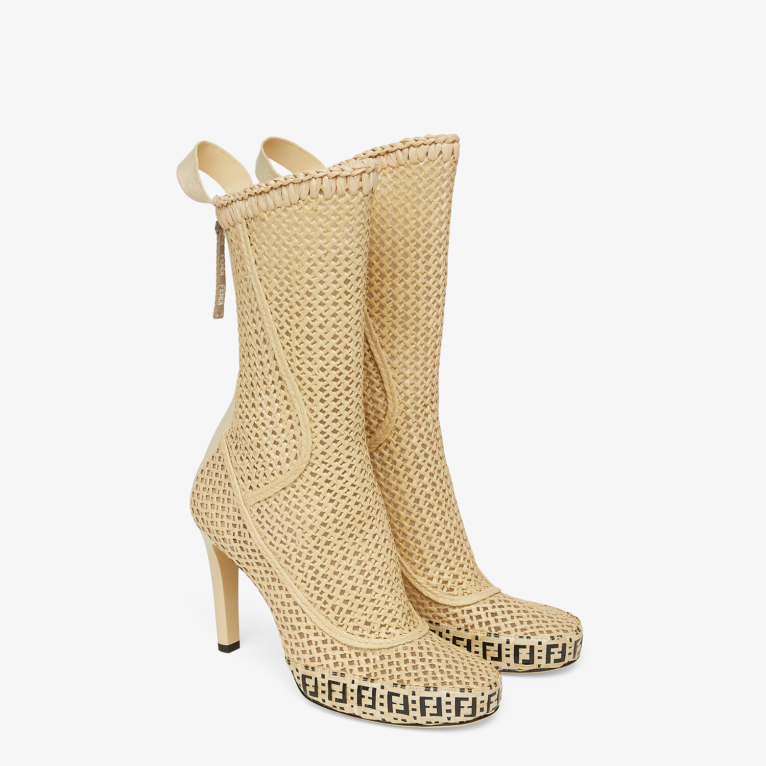 FENDI FENDI REFLECTIONS ANKLE BOOTS - Beige raffia booties - view 4 detail