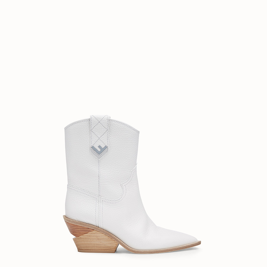 FENDI BOOTS - White leather ankle boots - view 1 detail