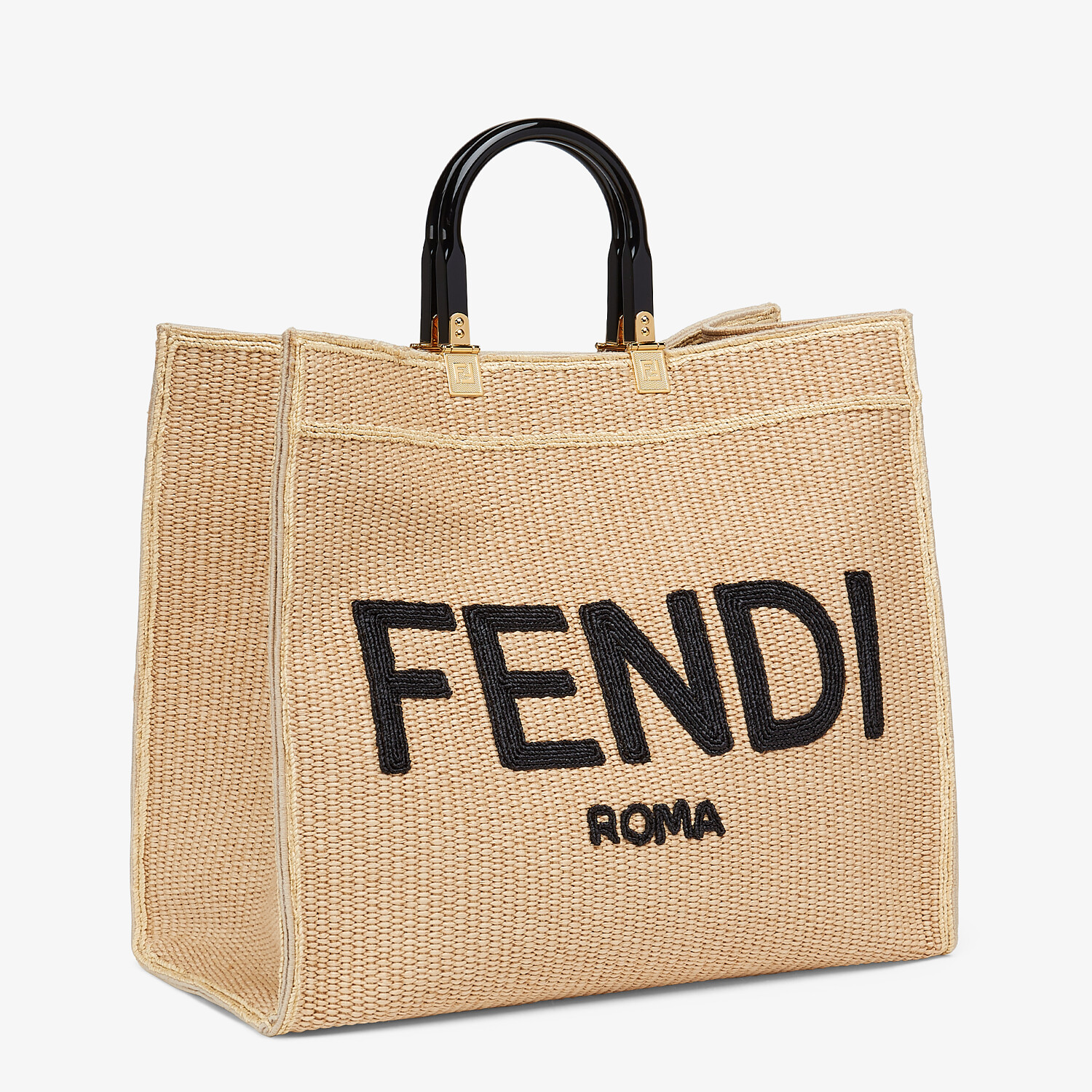 FENDI FENDI SUNSHINE LARGE - Woven straw shopper - view 3 detail