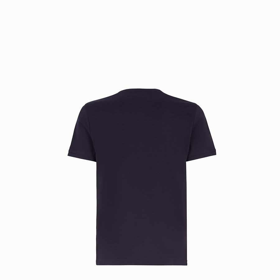 FENDI T-SHIRT - Blue cotton T-shirt - view 2 detail