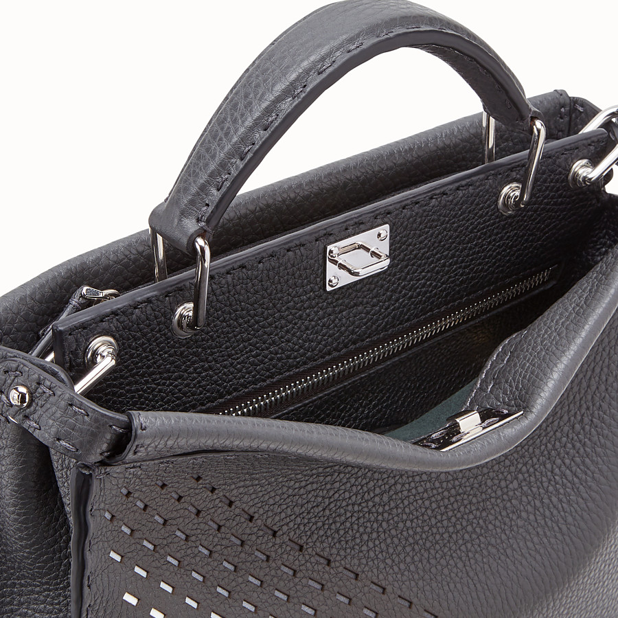 FENDI PEEKABOO ICONIC FIT MINI - Grey calf leather bag - view 5 detail