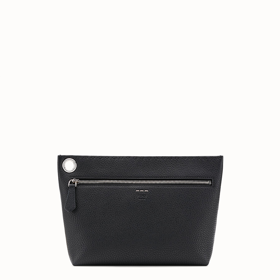 FENDI LARGE PYRAMID POUCH - Black leather pouch - view 1 detail