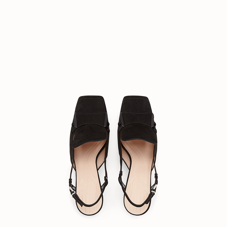 FENDI COURT SHOES - Black nubuck slingbacks - view 4 detail