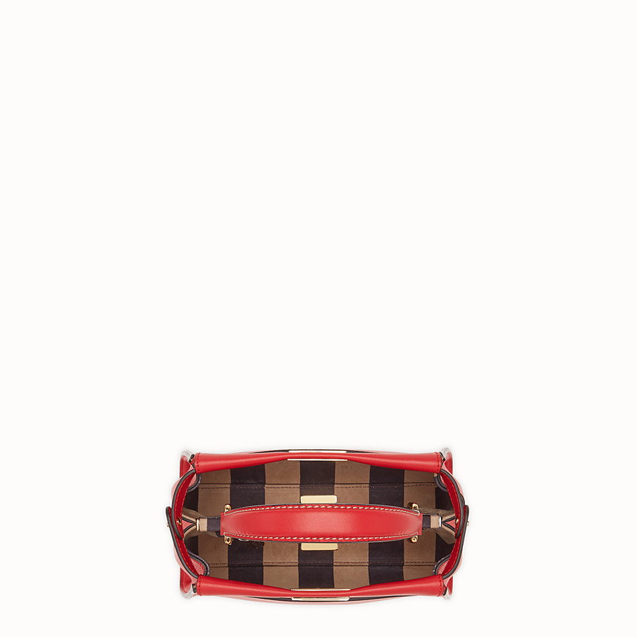 FENDI PEEKABOO ICONIC MINI - Red leather bag - view 5 detail